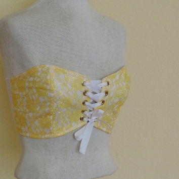 Bandeau corset tank top, cotton and lace, rave edc clothes, western wear, Yellow and white lace bandeau