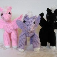 Three Plush Stuffed Baby Pegasus Winged Horses Black Pink and Lavender