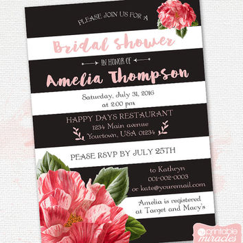 Bridal shower invitation, Printable floral black & white stripe bridal shower invite, Modern pink bridal shower