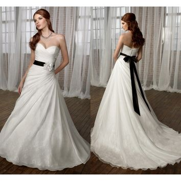 Summer Handmade Flowers Detachable Black Belt Bridal Gowns Sweetheart Backless Organza Wedding Dresses 2013