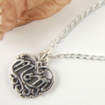 "Heart with ""Mom"" Pendant Necklace - Sterling Silver Antiqued Finish - Mom Necklace - Heart Necklace"