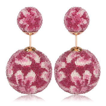 Italian Import Gum Tee Mise en Style Tribal Double Bead Earrings - Micro Bead Rose Pink Flower Design