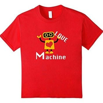 Cute Valentines Day T Shirt Love Machine Robot Gift For Boys
