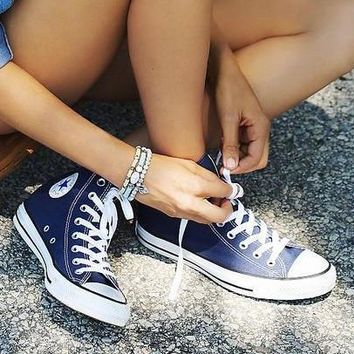 Converse Fashion Reflective Sneakers Hight top Sport Shoes Navy blue