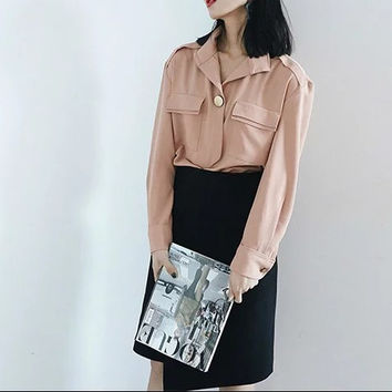 Summer Women's Fashion With Pocket Blouse [6513075847]