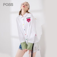 Women Blouse Fashion Cartoon Print Heart Style Button White Blouse Turn Down Collar Long Sleeve Women Shirts