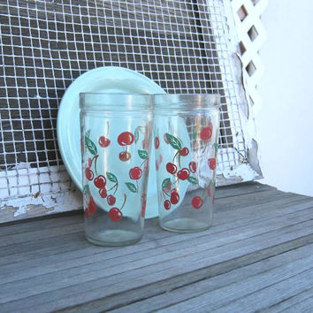 Set of 3 Cherry Tumblers; Midcentury Anchor Hocking 18 Oz./Large Drinking Glasses; Country Kitchen/Vintage/Cottage/Farm