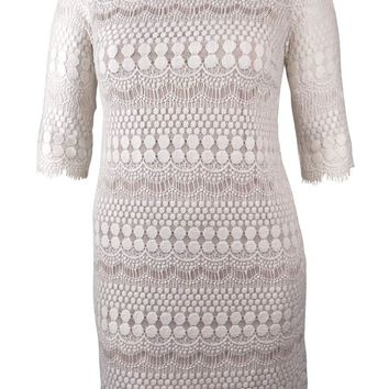 Jessica Howard Women's Fringe Scalloped Lace Dress