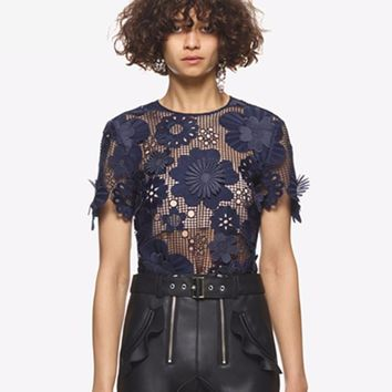 Women's Sexy Perspective Short Sleeve Three-Dimensional Crochet Floral Mesh Blouse