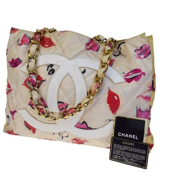 Auth CHANEL CC Logo Quilted Chain Shoulder Tote Bag Vinyl Canvas White 93BA115