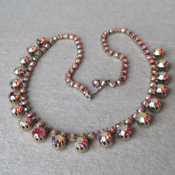 Vintage 1950's Unsigned WEISS Raspberry Red Aurora Borealis Rhinestone Necklace