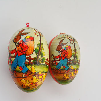 Nesting Easter Eggs, Set of Vintage Paper Mache Easter Eggs, German Made Candy Holders, Peter Rabbit, Nesting Eggs