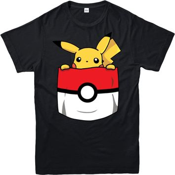 T-Shirt,Pikachu Pokeball Pocket Spoof,Adult and kids Sizes T-Shirt Novelty Cool Tops Men'S Short Sleeve TshirtKawaii Pokemon go  AT_89_9