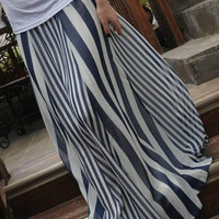 Blue And White Striped High Waist A-Line Maxi Skirt