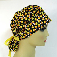 Bouffant Women's Surgical Scrub Hat or Cap Candy Corn