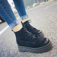Shoes Platform Riding Boots  Botas Flat Heels Lace Up Sexy Shoes Ankle Boots  Footwear Size 35-39