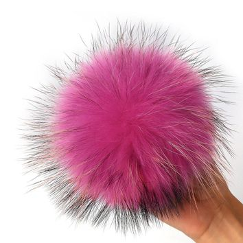 Hot 12-13cm Raccoon Fur Ball DIY Charm keyrings Fur Pom Pom Ball For shoes Headgear Ha