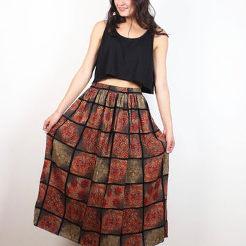 Vintage 1980s Skirt Black Brown Orange Window Pane Plaid Grid Paisley Print Midi Skirt Boho Bohemian 80s Skirt Hippie Skirt M L Large XL