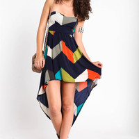 CHEVRON BACK GATHER DRESS