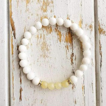 Balance of the Mind ~ Genuine White Agate & Calcite Bracelet w/ Gold Filled Swarovski Crystal Spacers
