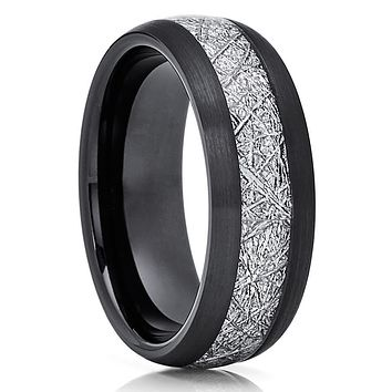 Black Tungsten Ring - Meteorite Wedding Band - Meteorite Ring - Black Ring