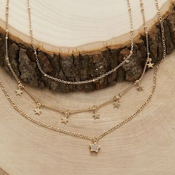 Dainty Layered Star Charm Necklace