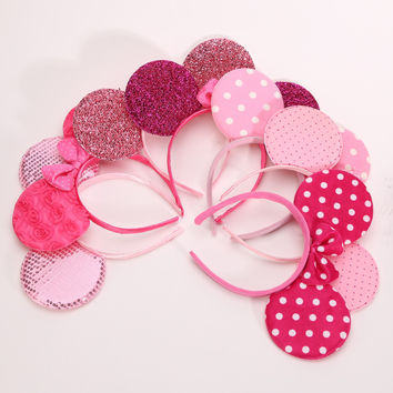 12pcs Lovely Girls Bows Minnie Mouse Ears Baby Hair Accessories adult Party Headband Kid Birthday Children Costume Head Ornament