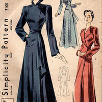 Simplicity Pattern 3166 High Fashion House Coat Elegant Hollywood Gown Robe Hooded Side Closing Draped Wide Sleeves Uncut Bust 34