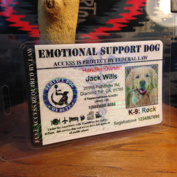 Holographic Emotional Support Service Dog Animal ID Card Badge Professional Assistance Animal ADA Custom design  L28BKH- Black