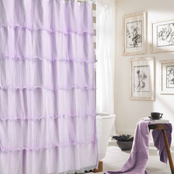"Kate Elegance Ruffled Decorative Fabric Shower Curtain (72"" x 72"") - Lavender"