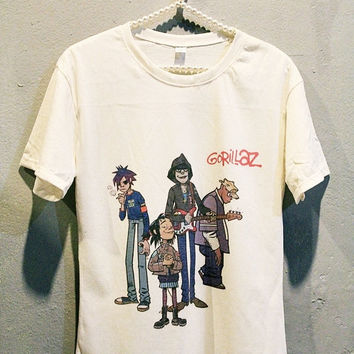 Gorillaz Tee Shirt Punk Rock Women T Shirts Off White TShirt Size S