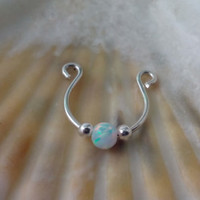 Fake Septum for non pierced nose , 925 sterling silver White opal clip on septum ,clip on, fake septum