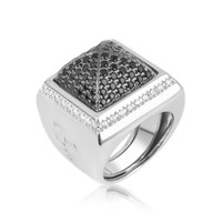 Azhar Designer Rings Black Cubic Zirconia Square Ring