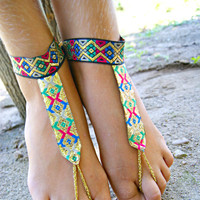 Foot jewelrybarefoot sandals-Native gold BAREFOOT sandles-gypsy barefoot sandal-boho gold barefoot thongs-anklet jewelry bottomless shoes