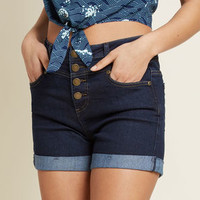 Karaoke Seamstress High-Waisted Shorts in Dark Wash