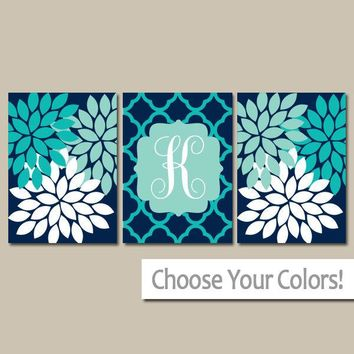 Monogram Wall Art, Navy Turquoise, Baby Girl Nursery Wall Art, Girl Bedroom Wall Decor, CANVAS or Prints, Navy AQUA Bathroom Decor, Set of 3