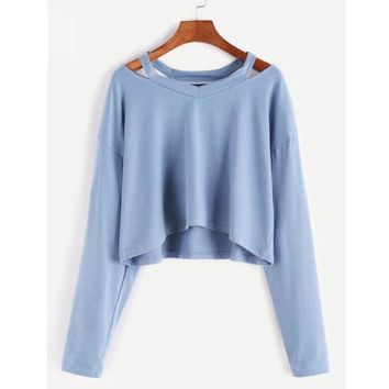 Fashion Hollow Out Blouse Womens Long Sleeve Off Shoulder Causal Summer Loose Crop Tops Short Blusas Black White Blue