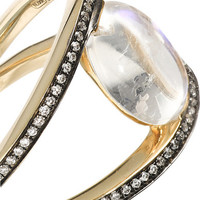 Noor Fares - 18-karat gold moonstone, diamond and sapphire ring