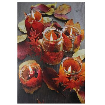 "LED Lighted Autumn Leaves and Flickering Candles Canvas Wall Art 23.5"" x 15.75"""