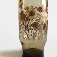 1970's Drinking Glass - Brown Glass with Flower Pattern