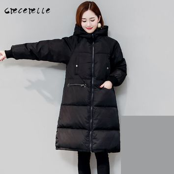 Women's Loose Fit Long Thick Down Jacket/Coat