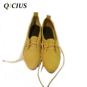 QICIUS Leather Oxford Shoes For Women Pointed Toe Casual Nurse Shoes Autumn Flat With Leather Women Loafers B0034
