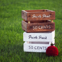 Natural Wood Stained Fruit Crate with Matching Apple Hat - Newborn photography props, newborn wood props