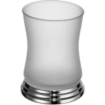 Scala Standing Frosted Glass Toothbrush Toothpaste Holder Bath Tumbler, Solid Brass