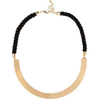 Black cord and gold tone torque necklace