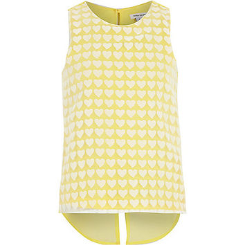River Island Girls yellow heart print vest