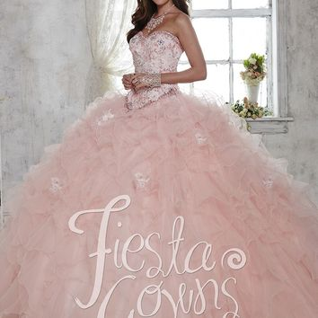 Fiesta 56282 Pink Ruffled Tulle Quinceanera Ball Gown