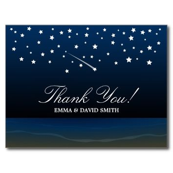 Summer Starry Night Beach Wedding Thank You Cards