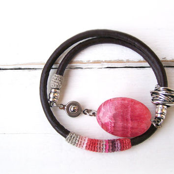 Leather Crochet & Bead Bracelet, Rose Petal Bracelet, Pink Bracelet