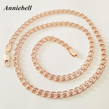 Anniebell Factory Direct New Fashion Rose Gold Color Jewelry Men Jewelry Necklace Copper 5MM 60CM Long Women Men Necklace